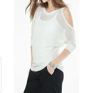 Express Sweaters - Express black open knit cold shoulder sweater